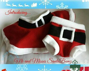 SantaBumz Christmas/Cloth Diaper Covers, Fleece Soakers, Pull on Shorties and Skirt/ Skirties with shorties underneath  (Made-To-Order)