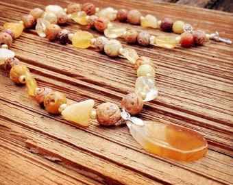 Natural soapstone and champagne quartz necklace