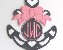 Anchor with Bow and Monogram Iron-On Applique