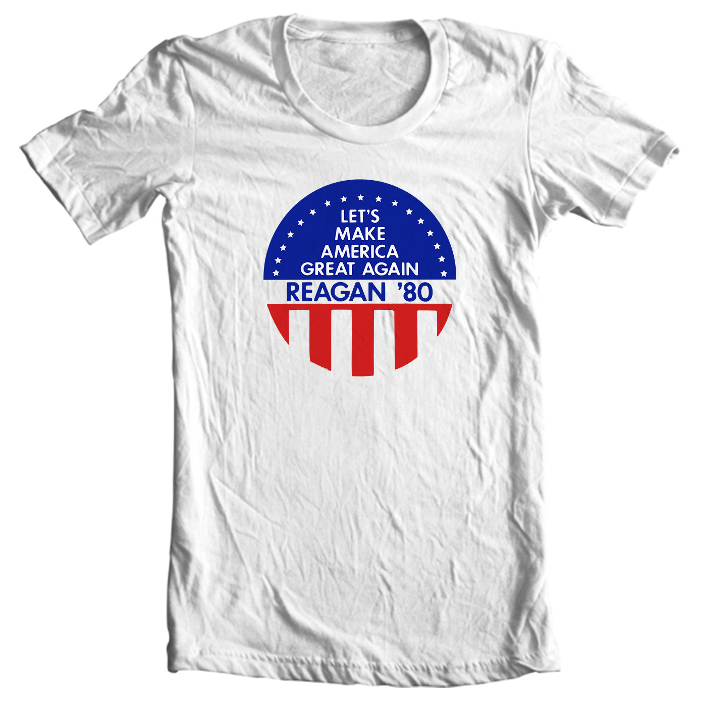 Let's Make America Great Again - Ronald Reagan 1980 Political Campaign Button T-shirt