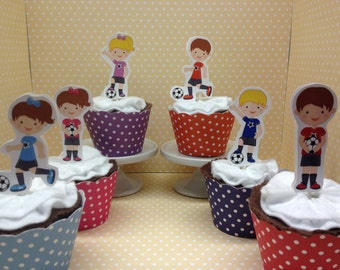 Soccer Party Cupcake Topper Decorations - Set of 10