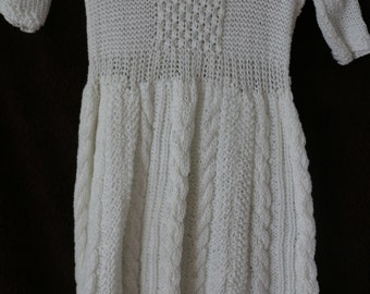 White hand knit Christening gown