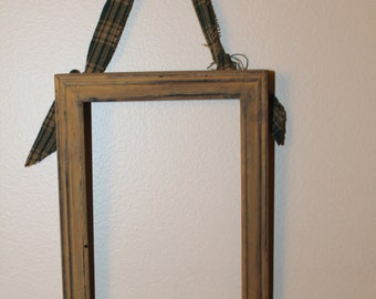 Distressed Picture Frames with fabric hanging