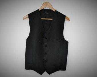 Black Mens Vest J. LINDEBERG Mens Waistcoat Classic Formal Fitted Gentlemen's Vest Steampunk Edwardian Medium Large size