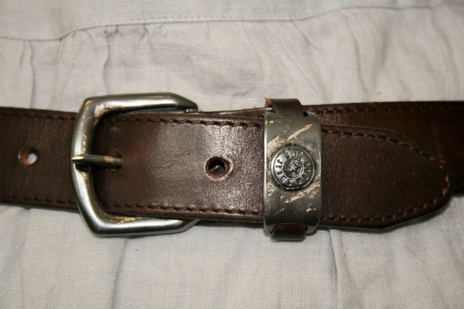 tooled leather belt with buckle thick cognac brown genuine