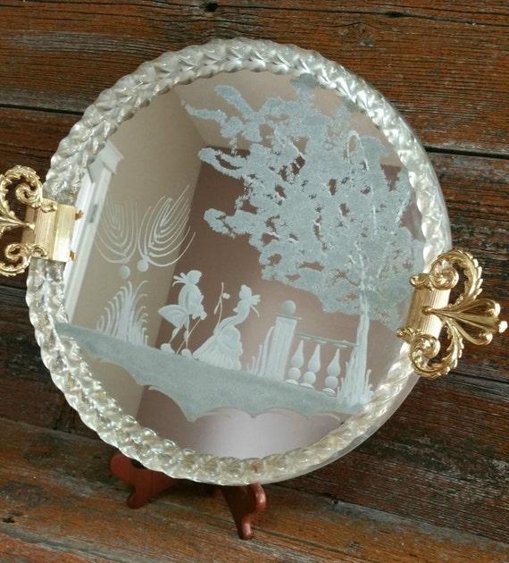 vintage italien murano vanity miroir plateau en verre grav. Black Bedroom Furniture Sets. Home Design Ideas