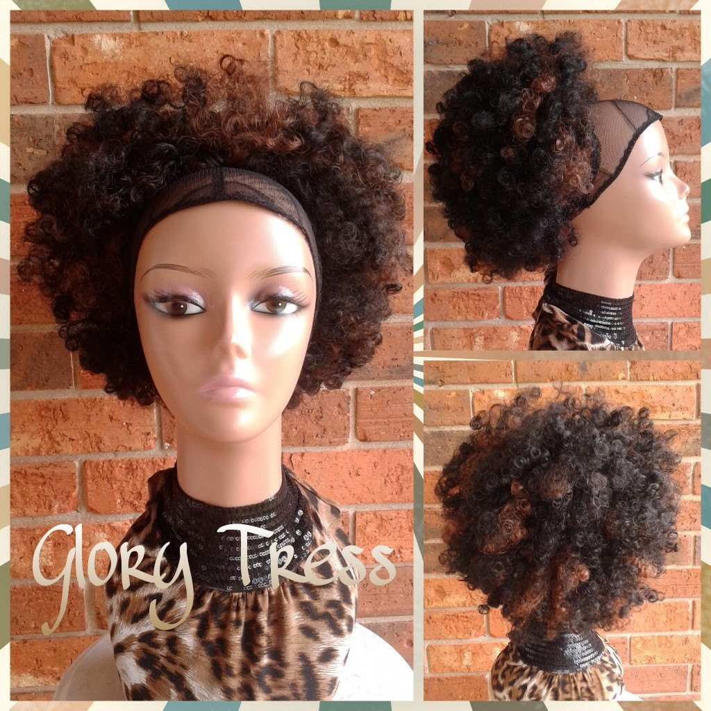 on sale // kinky curly afro drawstring ponytail ombre
