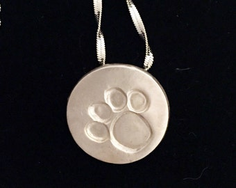 Dog Paw Necklaces- Sterling Silver Paw Pendant- Dog Paw Jewelry- Dog Lover Jewelry- Dog Paw Charm- Silver Dog Paw Necklace-Dog Lover Gift