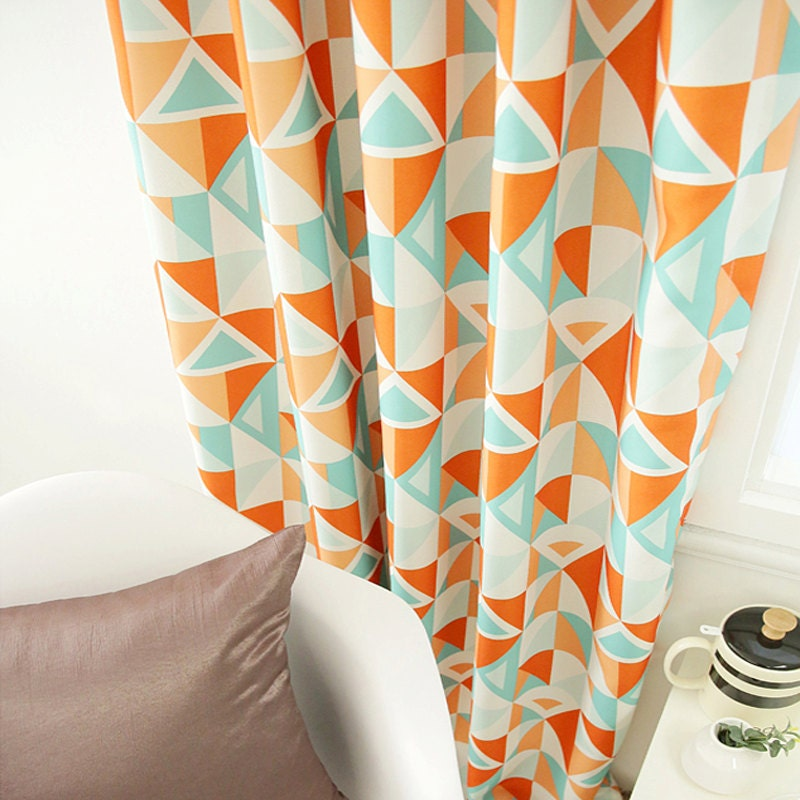 geometric patterned orange mint blackout curtain