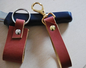 set of two leather keychain