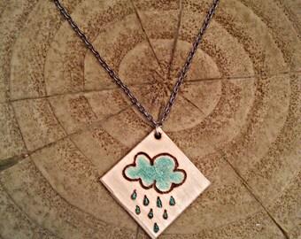 Woodburned Rain Cloud Necklace