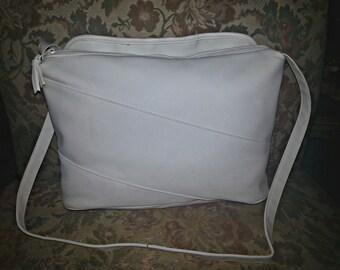 Sale! White Leather Handbag / White Shoulder Bag / Leather Purse