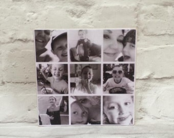 Bespoke wooden photo block collage