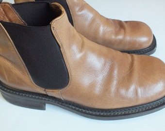 Vera Cuoio LAV. ARTIGIANA tan leather ankle boots mens size US 11 D made in italy