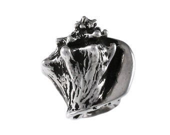 Realistic Queen Conch Shell Large Hole Sterling Silver Bead - Compatible with ALL Popular Bracelet Brands - Made in the USA! - Item #13512