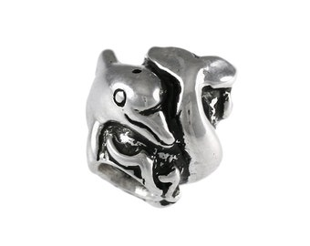 Curling Dolphin Large Hole Sterling Silver Bead - Compatible with ALL Popular Bracelet Brands - Made ENTIRELY in the USA! - Item #13246