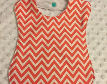 Personalized Baby Bib, Baby and Toddler Feeding Bib- Coral Chevron