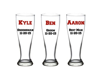 Personalized Groomsmen Mugs, Groomsmen Pilsner Glass, Grooms Mug, Groomsmen Gift, Best Man Gift, Beer Mugs