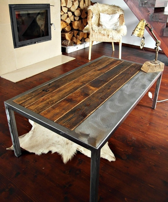 Industrial vintage farmhouse style Handmade Steel by MadeFromWoodd # Table Basse Industrielle Bois
