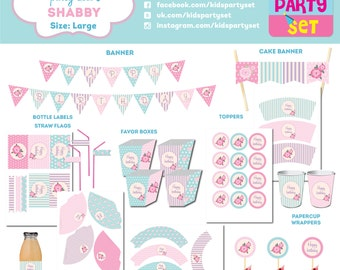 Vintage shabby chic kids party printables, party paper decoration, Birthday Party Package, printables, printing party decorations