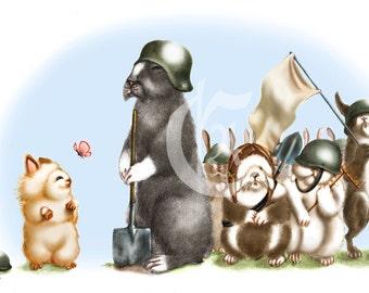 Tribe Rabbits/Carnets bleus - printed poster