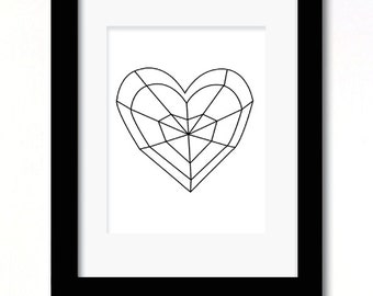 A4 geo heart print