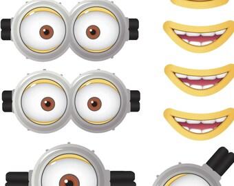 MINION - Minion Movie - Minion Eyes - Minion Mouths - Instant Download - Party Favor - Digital Printable Design - Minion Printable