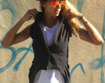 Black Extravagant Sleeveless Vest, Black Cardigan, Cotton Vest With Buttons , Asymmetric Plus Size Top by SSDfashion