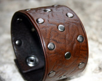 Leather Bracelet Brown Leather Riveted Cuff
