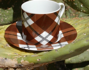 Fitz and Floyd Cup and Saucer - Chocolate Plaid