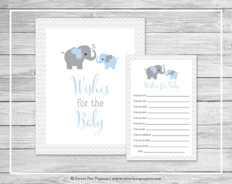 Elephant Baby Shower Wishes for Baby Cards - Printable Baby Shower Wishes for Baby Cards - Blue and Gray Elephant Baby Shower - SP102