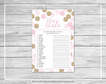 Pink and Gold Baby Shower Baby Babble Game - Printable Baby Shower Baby Babble Game - Pink and Glitter Baby Shower - Word Scramble - SP106