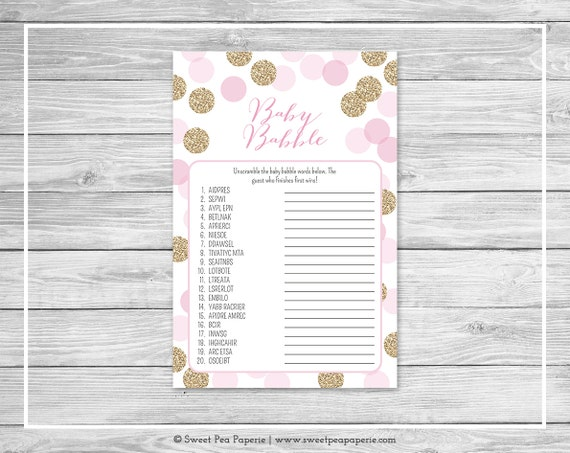 pink and gold baby shower baby babble game  printable baby shower, Baby shower invitation