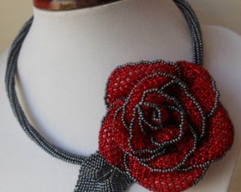 Necklace, bead weaving, necklace flower necklace Rose