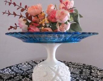 Wedding/Baby Shower Cake Plate,Cupcake Stand/Dessert Pedestal. Milk Glass. White/Blue 10 inch.