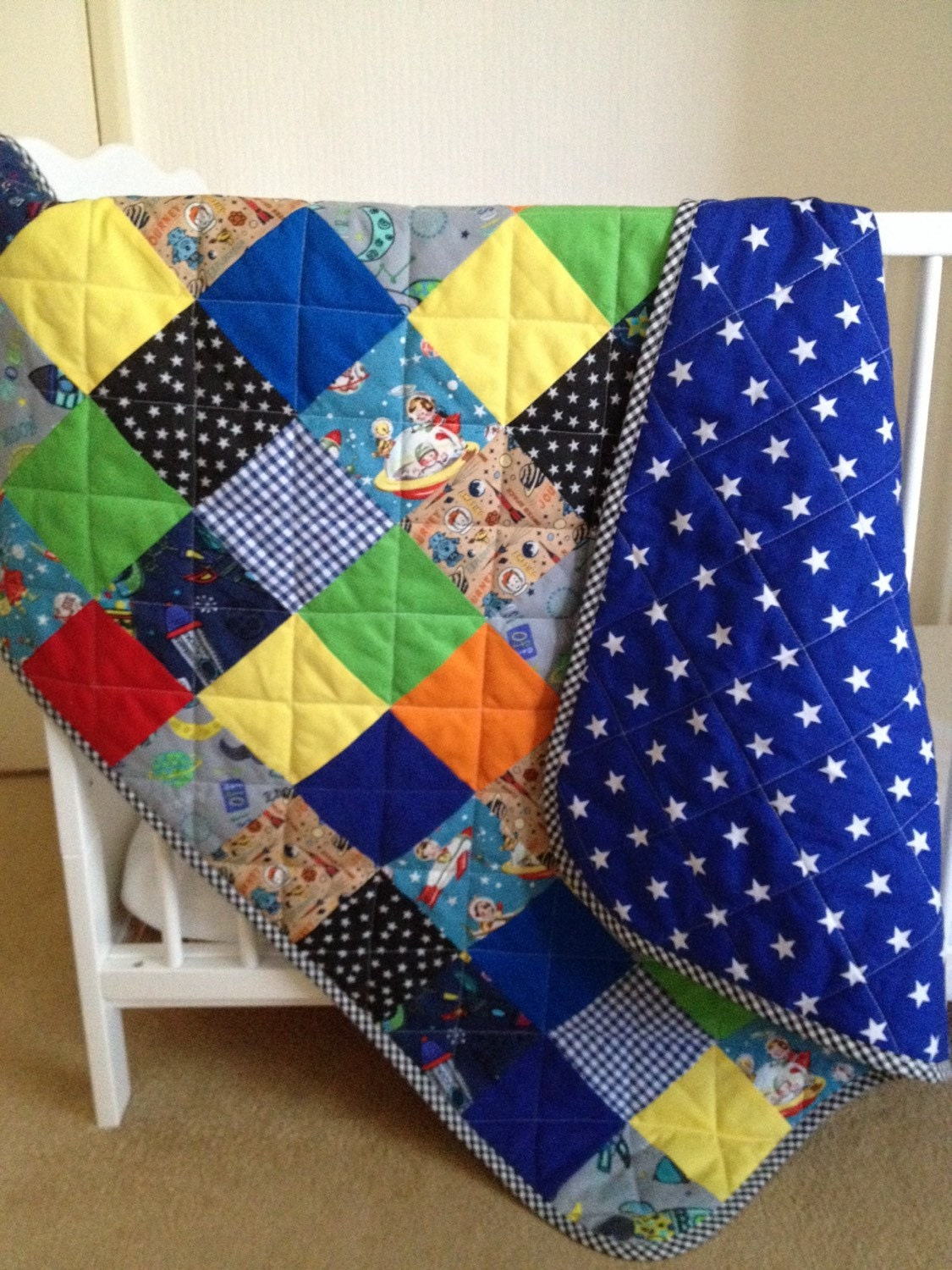 Baby quilt rocket baby quilt outer space baby space baby for Outer space quilt