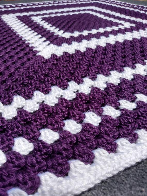 Crochet Purple Baby Blanket Handmade by scarletngreycrochet