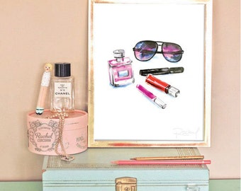 Wall print glam poster watercolor vanity makeup 8x10 INSTANT DOWNLOAD