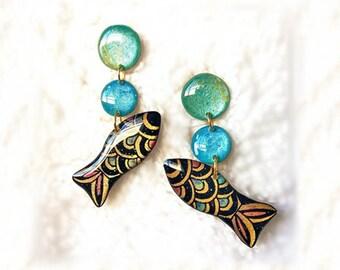 FISH EARRINGS - RESIN Earrings,Earrings Handmade,Inspirational Earrings,Earrings Dangle,Fish Earrings Dangle,Modern Earrings,Resin Jewelry