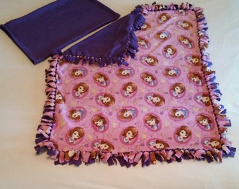 Handcrafted Fleece Sofia the First Blanket with FREE Matching Pillowcase