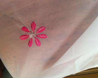 Wamsutta Sheer Valances (2), Embroidered Daisies with pearls, stones sewn in.  Very pretty.