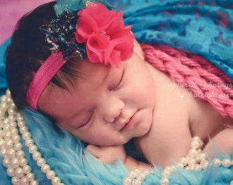 Pink. Navy, and Teal flower clip headband