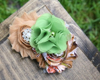earthy colored shabby chic flower clip headband