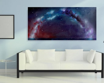Original Oil Painting - Spray Paint Art - Space Art - Wall Art  - Milky Way Painting - Landscape Painting - On Canvas