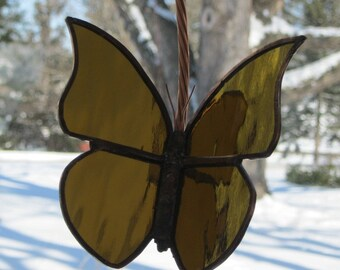 """A Beautiful New Stained Glass Work """"Golden Butterfly"""" 3D, Mobile Action, Gold Mirrored Water Glass 8.5"""" x 5"""", U.S. ARTIST, U.S. MADE ! 2015"""