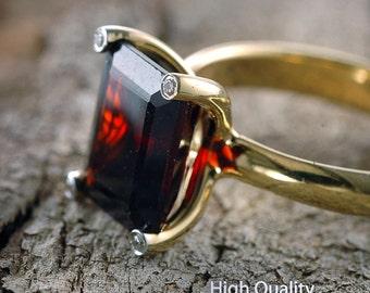 Red Garnet Ring, 14K Yellow Gold Ring Band, Princess Cut Ring, Diamond Ring, Statement Ring, Fashion Rings, Anniversary Gift