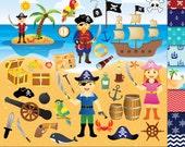 54 Pirate clipart + 12 Digital Papers, Pirate clip art , Pirate ship clipart , Treasure Nautical Anchor Flag Pirates clipart Pirate graphics