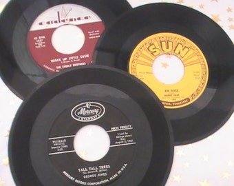 "Thirty Three 45 RPM ""Rock-A-Billy and Country"" Records From the 50's"