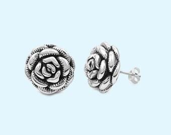Sterling Silver Rose Flower Earrings Flower Earrings Women's Rose Earrings Fashion Oxidized 17MM Post Stud Earrings