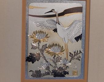 SIGNED w/COA Japanese CHOKIN Art 24KT Sterling Copper The Crane  Moriyuki Katsura Free Shipping